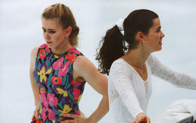 Tonya Harding and Nancy Kerrigan avoid eye contact on the ice in 1994