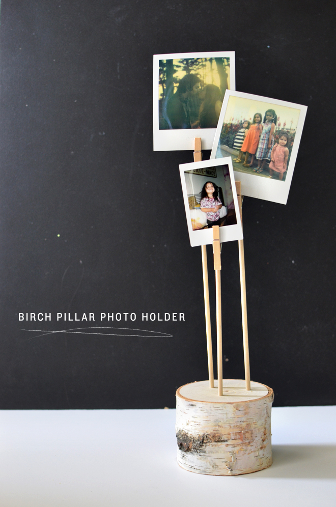 birch pillar photo holder