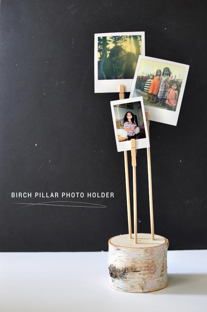 birch pillar photo holder