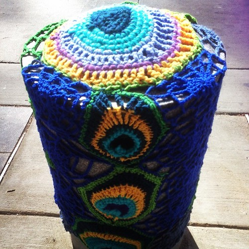 Another yarn bomb pylon on Pratt Street #accbaltimore #baltimorethreadquarters #baltimore