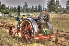 Willie and son running plow with antique Case tractor HDR