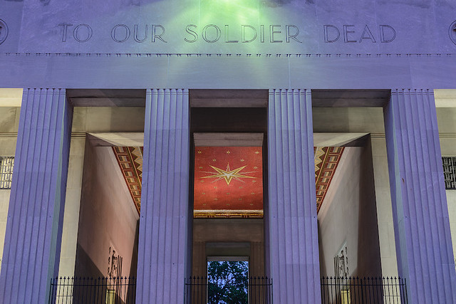 Soldiers' Memorial, in downtown Saint Louis, Missouri, USA - view of loggia at dusk
