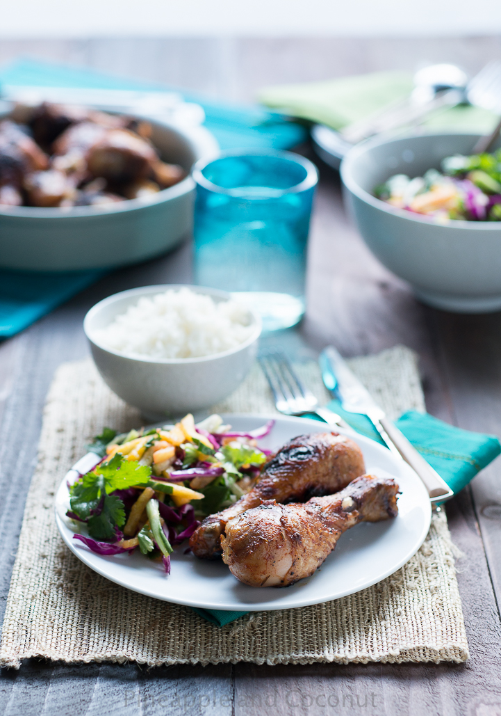 Jamaican Jerk Chicken Drumsticks with Pineapple Mango Slaw www.pineappleandcoconut.com #DelishDish #BHG