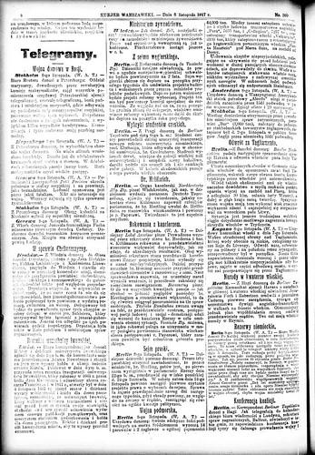 Kurjer Warszawski, 8 November 1917 (National Library Poland)