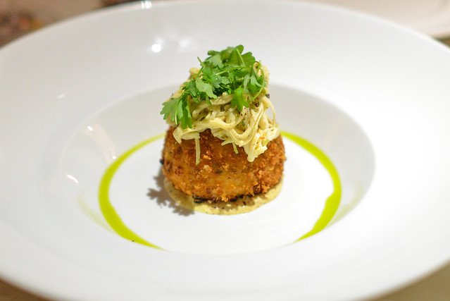 crab cake hiding a sweet crab filling. Celery root and an apple slaw ...