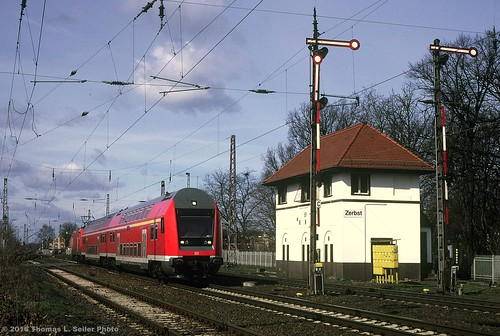 DEUTSCHE BAHN PUSH PULL TRAIN ROLLS EB PAST TOWER B1 - ZERBST, GERMANY - MARCH 2000