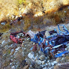Flew down and grabbed some pics of these wrecked vehicles today. #overtheedge #dji #mavic #hdr #truck #vehicle #droveoffacliff