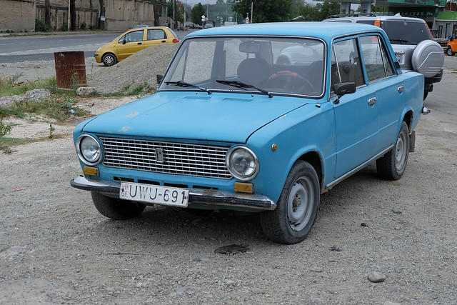 A close view of one of ancient Russian Lada cars
