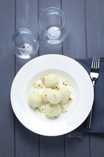 Squash stuffed gnocchi with Taleggio fondue