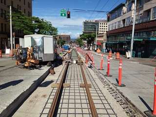 First Hill Streetcar track construction at Jackson St. & Maynard Ave