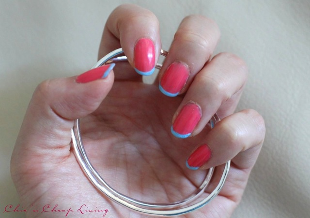 Summer French manicure using Sally Hansen Get Juiced and Chanel Coco Blue with Carrie K cuff - saved by Chic n Cheap Living