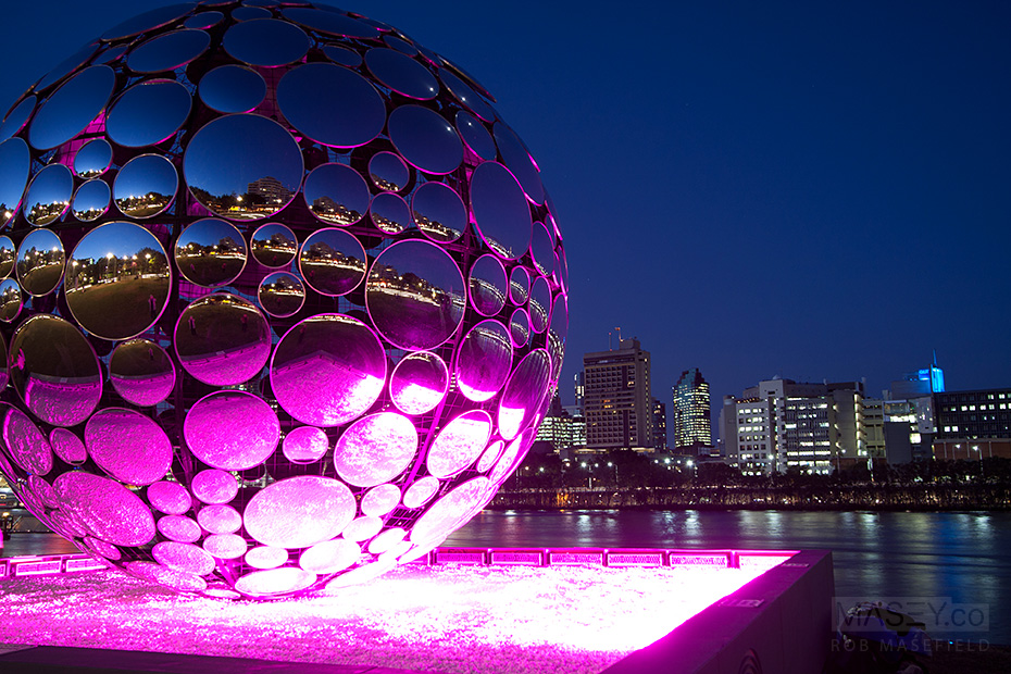 Brisbane Festival's 'Light Sphere' by the banks of the Brisbane River.