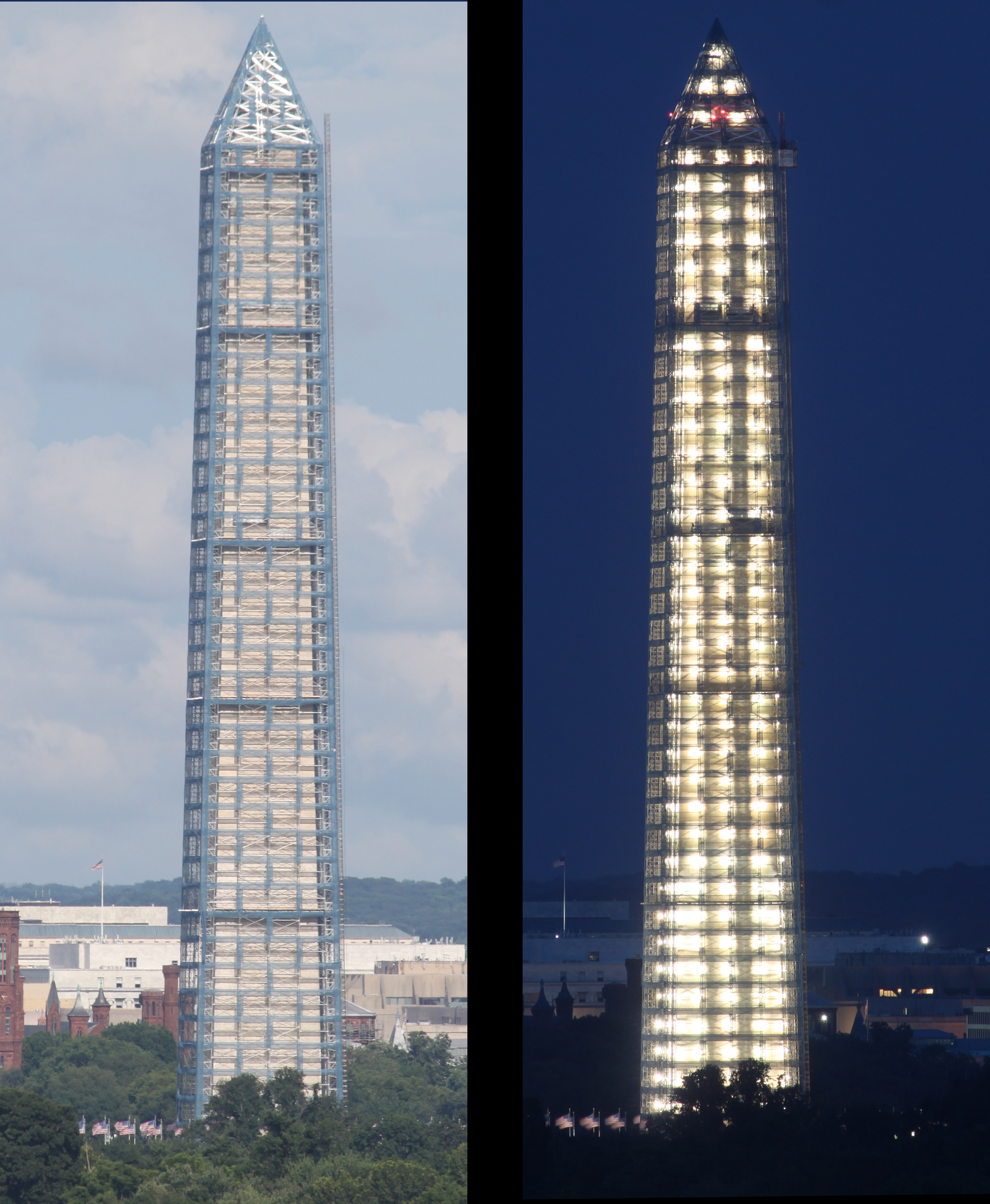 Washington Monument scaffolding (day and night)