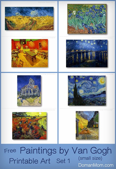 Free Paintings by Van Gogh Printable Art Cards (small size - large also available)
