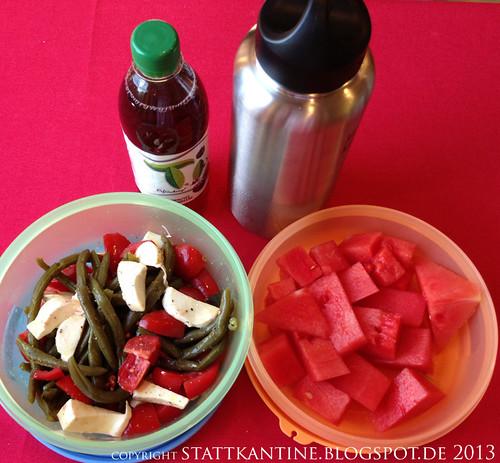 Stattkantine 20. Juni 2013 - Bohnen-Tomaten-Mozzarella-Salat, Wassermelone, Schorle