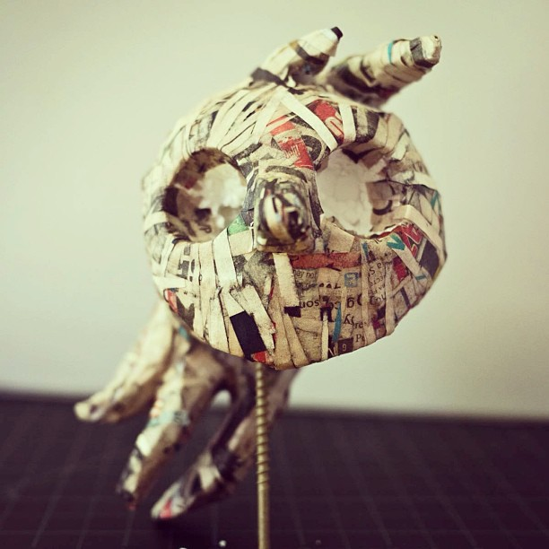 Newly discovered love of paper mâché. You can do so much with it. Getting excited. #puppet