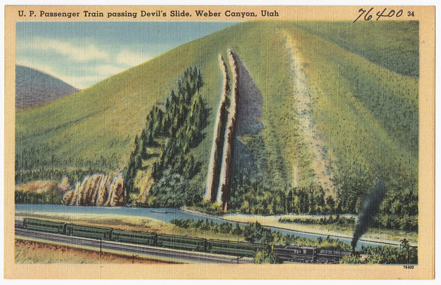 U. P. Passenger Train passing Devil's Slide, Weber Canyon, Utah