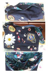 Regular messenger bag out of denim, covered in patches and badges :)