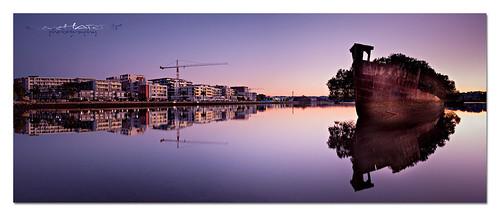 new old sea panorama reflection water sunrise landscape bay nikon ship ss sydney australia panoramic nsw wreck homebush d700 ayrfield csteveharrisphotography