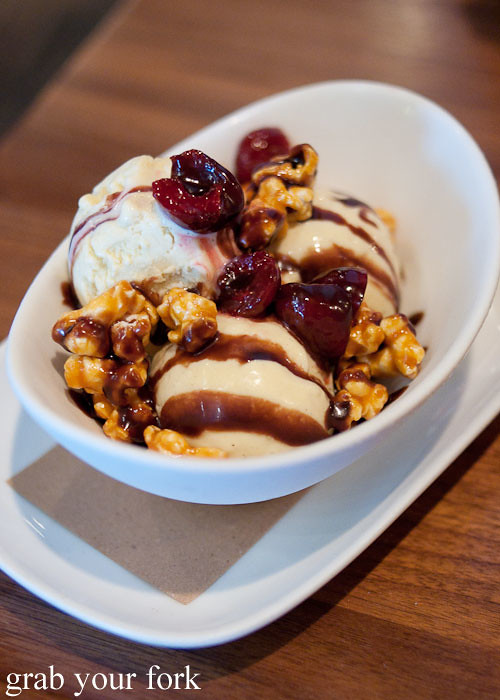 bowl of popcorn ice cream dessert at craft bar by tom colicchio top chef judge flatiron district nyc new york usa