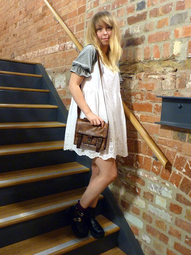 Outfit post | White lace smock dress and brown leather satchel