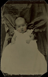 Baby with Hidden a Mother in a Striped Dress - Tintype