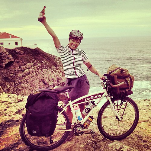 "DAY 106 最終回: LAST STOP SAGRES!Hit on ""the end of the world"" Cabo de São Vicente where is the Southernwesternmost point of European Continental.  Thank you all my friends + followers + sponsors, I couldn't make it without your BIG support!! 誕生日、無事にゴール「世界の果"