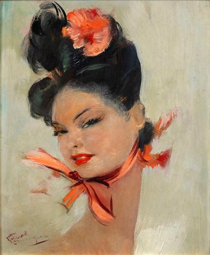 021-Dama elegante con pañuelo rosa-Jean Gabriel Domergue