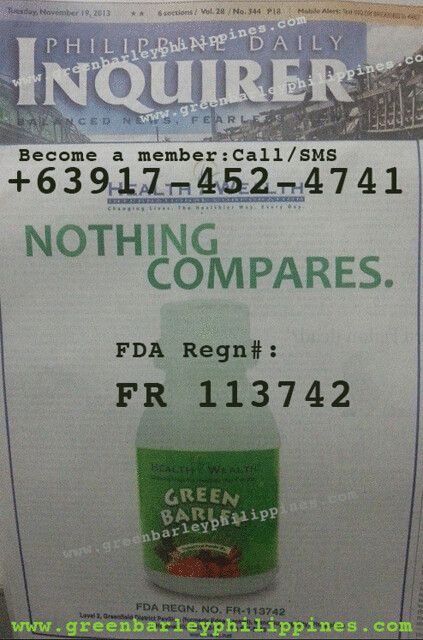 green-barley-fda-product-registration-number