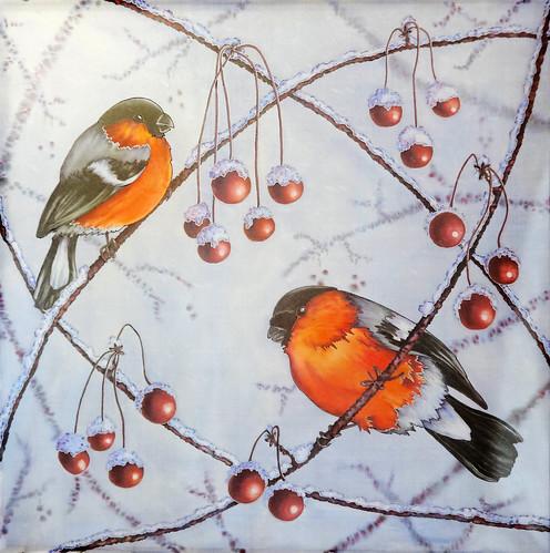 "Silk shawl ""Bullfinches"" Hand painted"