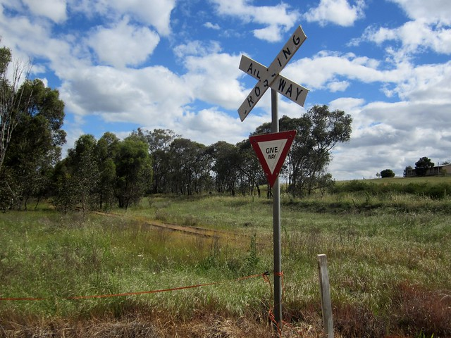 The old railway line to Wahgunyah, near Rutherglen, Vic