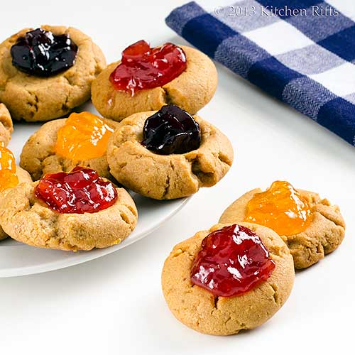 PB&J Thumbprint Cookies, with plate of cookies in background