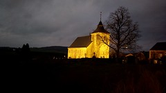 Countryside church at night