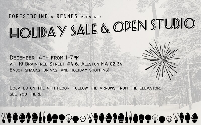 Come to our Holiday open studio this Saturday!!  1-7pm