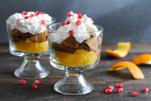 Pomegranate, Orange & Gingersnap Parfaits - a light, fruity dessert full of seasonal flavors!