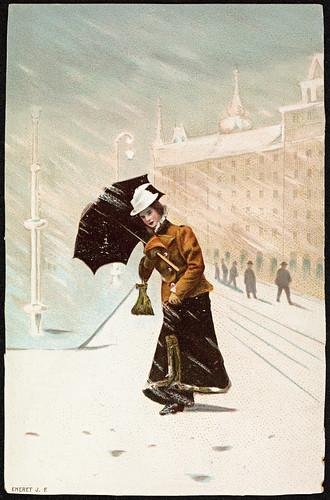 Kvinne ute i vintervær, ca 1900