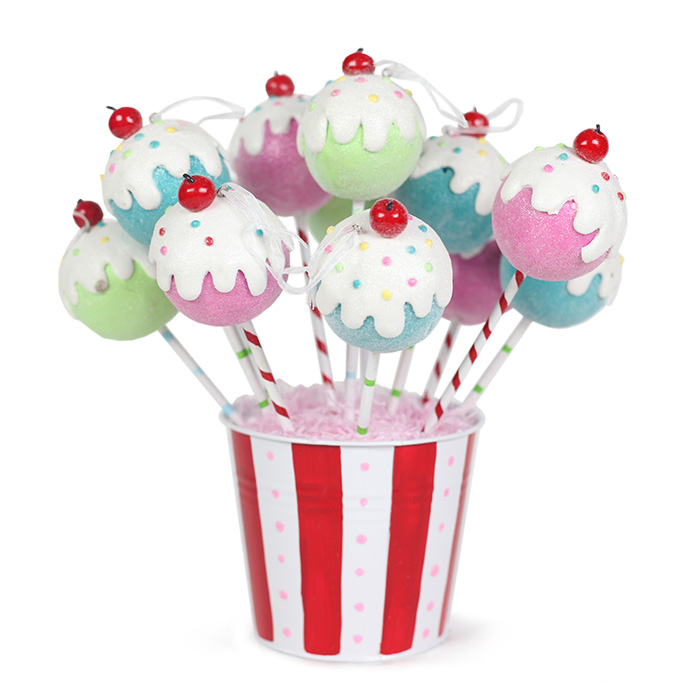 Cake Pop Ornaments from Tinsel and Twirl
