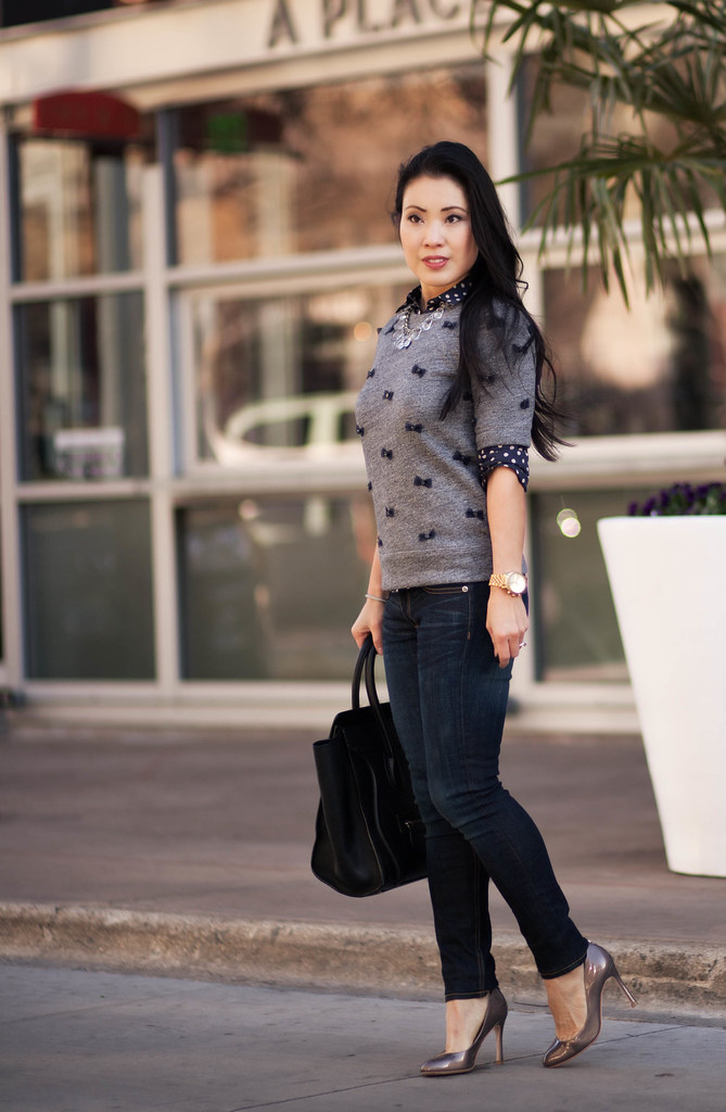 cute & little blog   polka dot shirt, mini bows sweater, rag and bone skinny jeans, statement necklace, celine   layers outfit