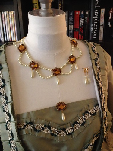 Pearl and Rhinestone Parure