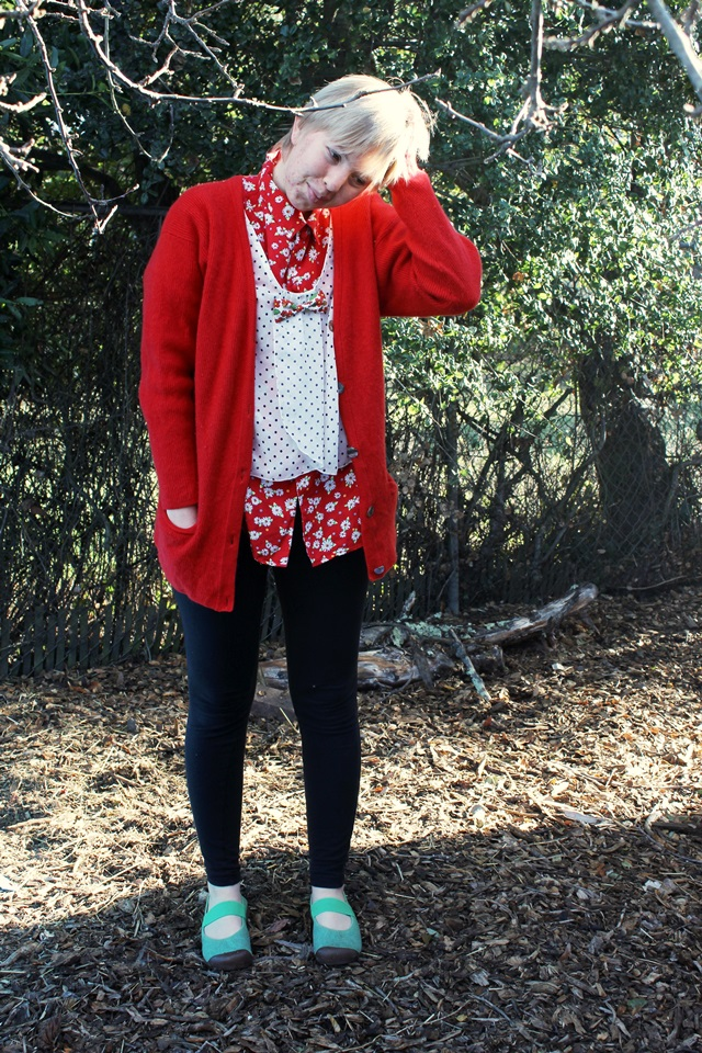 flowery red & black-and-white polka dots