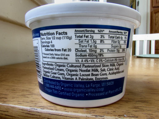 Organic Valley 2% Cottage Cheese Nutrition Label