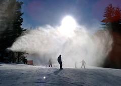 Through a cloud of snow