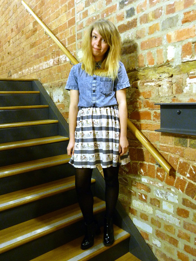 Sugarhill Boutique bicycle print dress | Acid denim shirt | UK Style blogger | ootd