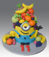 Fruit Head Minion Cake