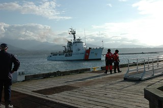 The crew of Coast Guard Cutter Active returned Tuesday to their home port of Port Angeles, Wash., following a 70-day deployment. During their deployment, the cutter and crew covered more than 11,500 miles on a counter drug enforcement patrol in the eastern Pacific. (U.S. Coast Guard photo by Coast Guard Air Station Port Angeles)