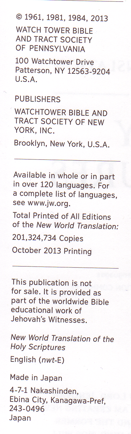 Gallery of the Several Editions of the New World Translation