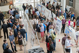 Steinmetz Symposium poster presentations in the Wold Atrium.