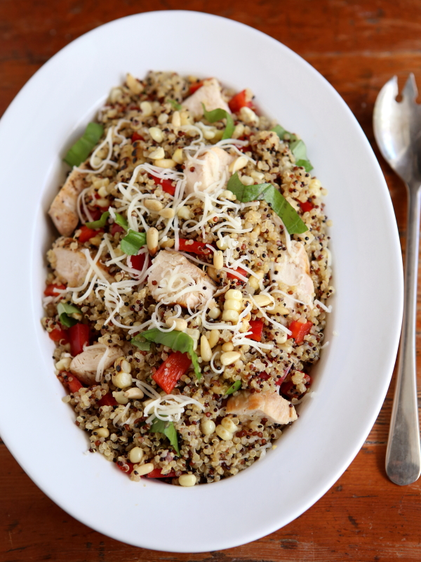 Chicken Quinoa Bowls with Grilled Corn, Red Peppers and Pine Nuts from completelydelicious.com