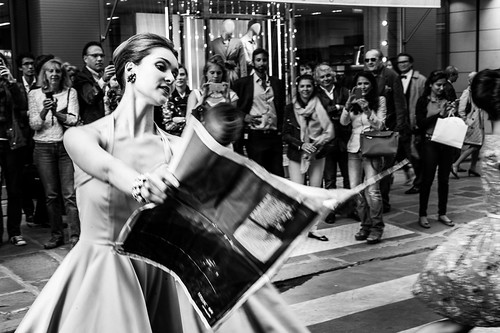 Dancer in the street during Summertime fiesta, Paris 2014