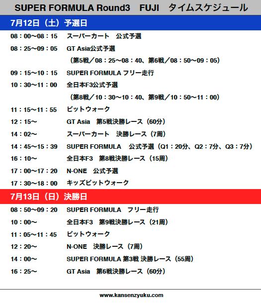2014スーパーフォーミュラ第3戦富士タイムスケジュール